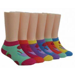 480 Bulk Girls Strawberry Punch Low Cut Ankle Socks