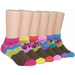 480 Bulk Girls Ice Cream Cone Low Cut Ankle Socks