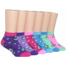 480 Bulk Girls Heart Print Low Cut Ankle Socks