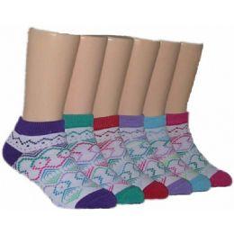 480 Bulk Girls Tribal Print Low Cut Ankle Socks