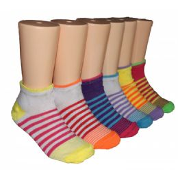 480 Bulk Girls Sriped Low Cut Ankle Socks
