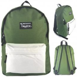 "24 Units of 16.5"" Track Backpacks In Olive Green Color - Backpacks 16"""