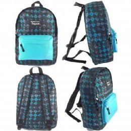 """24 Units of 16.5"""" Track Backpacks In Diamond Print - Backpacks 16"""""""