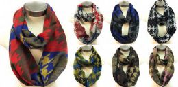 12 Units of Infinity Circle Scarves Houndstooth Pattern - Winter Scarves