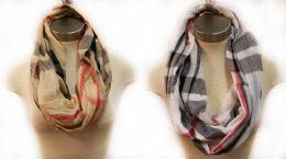 12 Units of Scarves Infinity Circle Plaid Design - Womens Fashion Scarves