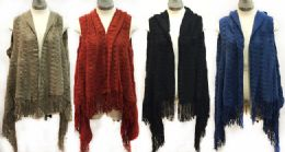 6 Units of Knitted Vests With Zig Zag Stiches Fringe Bottoms - Winter Pashminas and Ponchos