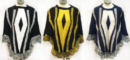6 Units of Knitted Poncho With Fringe Assorted - Winter Pashminas and Ponchos