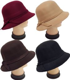 24 of Women Lady Cloche Hat With Hat Band Assorted Colors