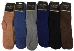 12 Units of Men's Solid Color Fuzzy Sock - Men's Fuzzy Socks