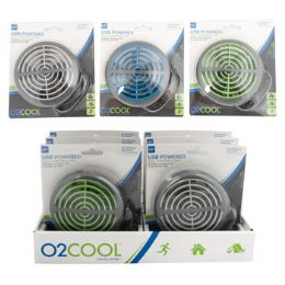 """96 of Fan 3.5"""" Usb Powered Portable 3 Assorted Colors Carded 8pc Counter Display"""