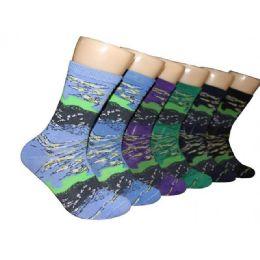360 Units of Women's Abstract Print Crew Socks - Womens Crew Sock