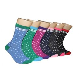360 Units of Women's Polka Dot Crew Socks - Womens Crew Sock