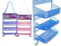 48 Units of Plastic Shower Caddy 3 Assorted Color - Shower Accessories