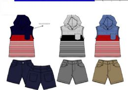 36 Units of Boys Twill Short Sets 3 Colors Size 12-24 - Boys Shorts