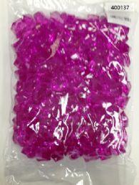 36 Bulk Plastic Decoration Stones In Purple