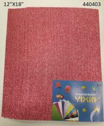 """48 Bulk Eva Foam W/ Glue And Glitter 12""""x12"""" 10 Sheets In Hot Pink"""