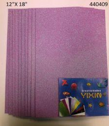 """48 Bulk Eva Foam W/ Glue And Glitter 12""""x12"""" 10 Sheets In Lavender"""