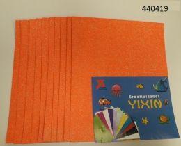 """48 Bulk Eva Foam W/ Glue And Glitter 12""""x12"""" 10 Sheets In Orange"""
