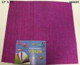 """48 Bulk Eva Foam W/ Glue And Glitter 12""""x12"""" 10 Sheets In Purple"""
