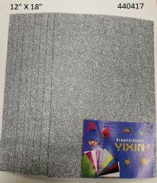 """48 Bulk Eva Foam W/ Glue And Glitter 12""""x12"""" 10 Sheets In Silver"""