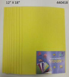 "48 Bulk Eva Foam W/ Glue And Glitter 12""x12"" 10 Sheets In Yellow"