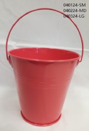 24 Units of Metal Bucket Small In Coral - Buckets & Basins