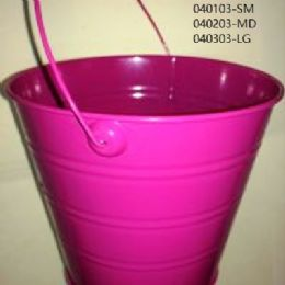 24 Units of Metal Bucket Small In Hot Pink - Buckets & Basins