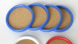 "72 Units of Cork Coaster, Plastic Frame. 4"" Diameter. - 4 Piece - Coasters & Trivets"