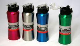 "24 Wholesale Stainless Steel Water Bottle, 20 Oz - Flip Top, 8-1/4"""