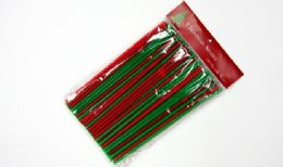 """24 Units of Christmas Flexible Straws 100 CounT-8-1/4"""" - Straws and Stirrers"""