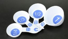 72 Units of Measuring Cups - 4 Piece.- White With/blue - Measuring Cups and Spoons