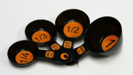 72 Units of Measuring Cup 4 Piece - Orange & Black - Measuring Cups and Spoons