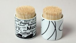 72 Units of Toothpicks 350 CounT- Ceramic Container - Toothpicks