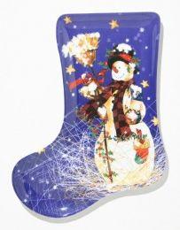 "24 Units of Plate, Stocking ShapE- Snowman, 9-/2"" - Christmas Stocking"