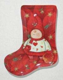 "24 Units of Plate, Stocking ShapE- Red Elf, 9-1/2"" - Christmas Stocking"