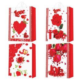 "96 Units of ValentineS-Day Glitter Bag 10.5x13x5.5""/large - Valentine Gift Bag's"