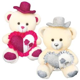 """6 Units of 20"""" Bear With/heart+hat - Valentines"""