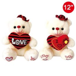 """12 Units of 12"""" Bear With Heart And Hat - Valentines"""