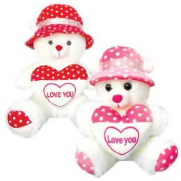 """12 Units of 12"""" Bear With Heart And Cap - Valentines"""