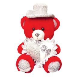 """12 Units of 9"""" Red Bear With/heart+hat - Valentines"""