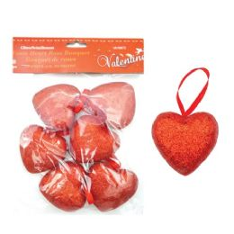 96 Units of 6 Pack Heart Pick With/glitter - Valentines