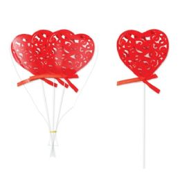 96 Units of 3 Piece Heart Pick With Glitter - Valentines