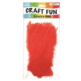 96 Units of Feather Red - Pom Poms and Feathers
