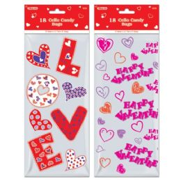 96 Units of Eighteen Count Cello Candy Bag Valentines - Valentine Cut Out's Decoration