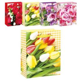 144 Wholesale Mothers Day Floral Bag Glitter Medium
