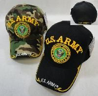 24 Wholesale Licensed Us Army [seal] Ball Cap *assorted Colors
