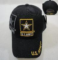 24 Wholesale Licensed Us Army Hat [black/star Logo]