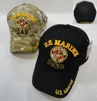 24 Wholesale Licensed Us Marine Dad Ball CaP-Assorted Colors