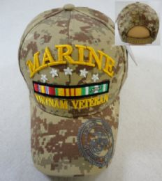 24 Wholesale Licensed Marines Hat [vietnam Veteran] *digital Camo
