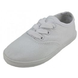 24 of Children's Lace Up Casual Canvas Shoes White Color Only